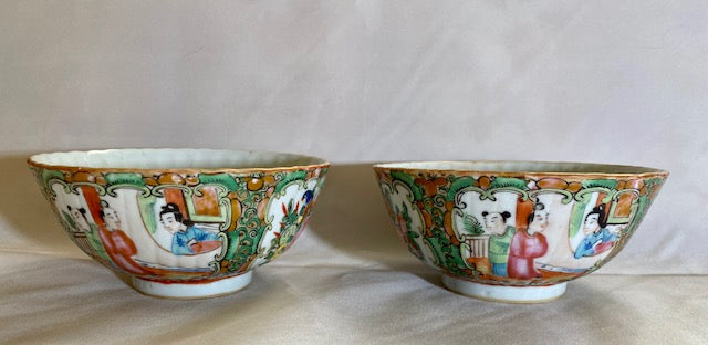 Late 18th to 19th C Rose Medallion Rice Bowls