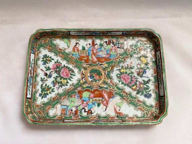 19th C Rose Medallion Porcelain Tray