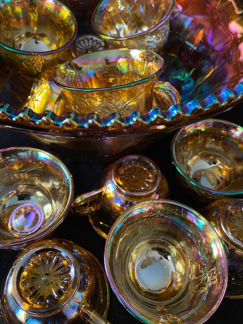 Indiana Harvest Grape and Leaf Carnival Glass Punch Bowl Set