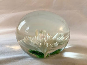 Vintage Spring Flower Art Glass Paperweight