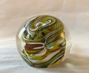 Vintage Colorful Abstract Art Glass Paperweight