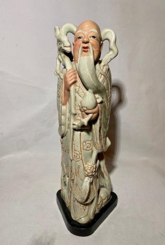 Southeast Asian Celadon Ceramic Shou Statue