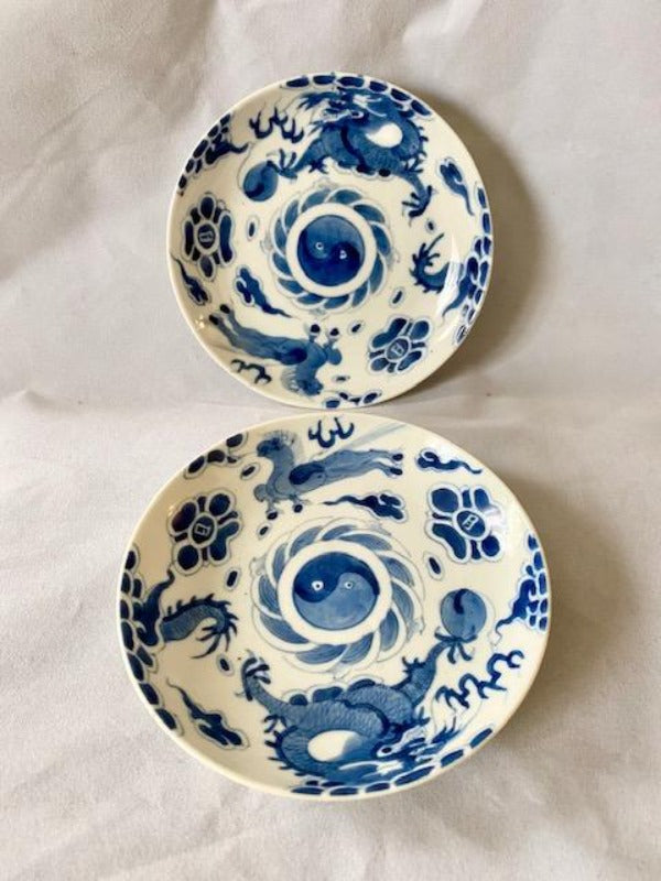 19th C Bleu de Hue Horse and Dragon Plates