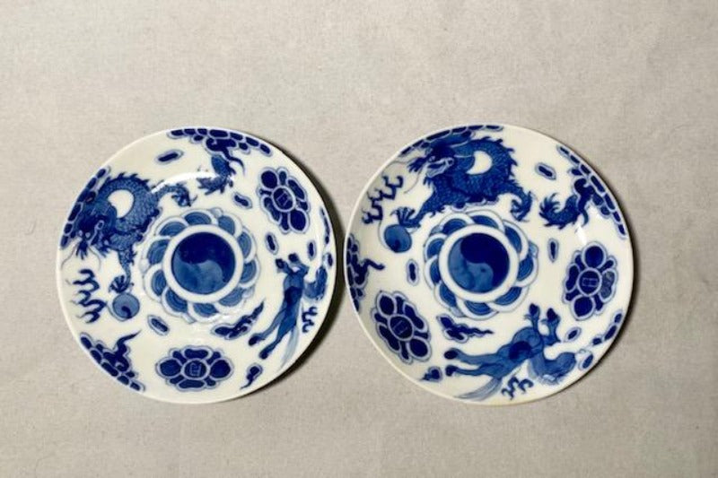 19th C Bleu de Hue Horse and Dragon Dishes