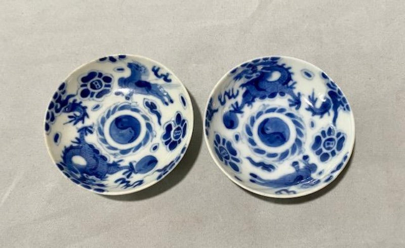 19th C Bleu de Hue Horse and Dragon Small Bowls