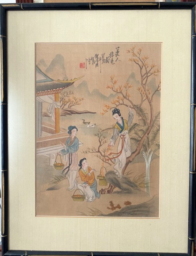 Republic Period Painting on Silk Signed and Dated