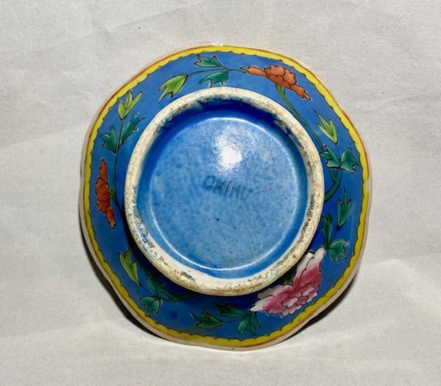 Blue Ground Famille Rose Porcelain Bowl