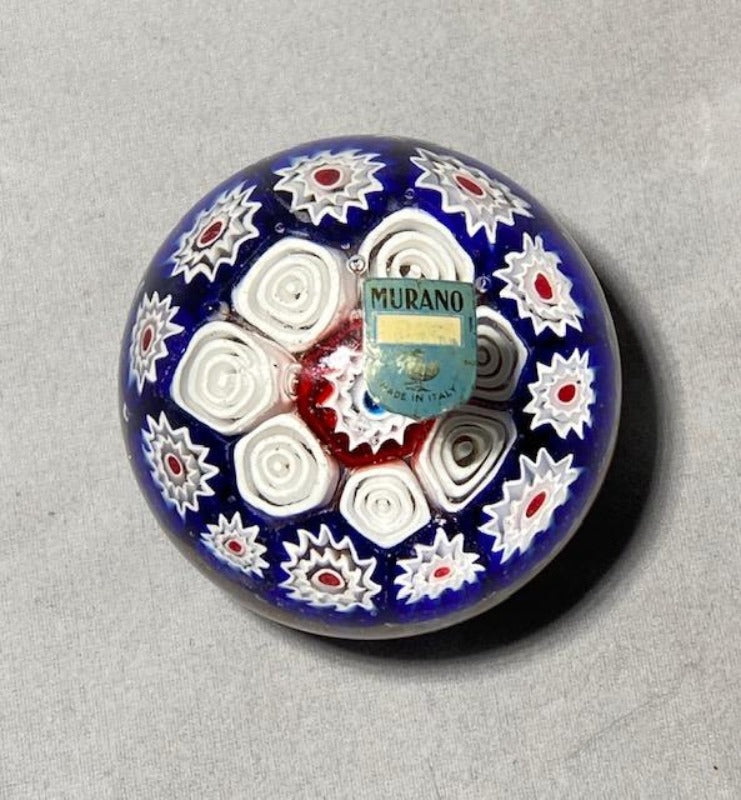 Murano Millefiori and Goldstone Art Glass Paperweight