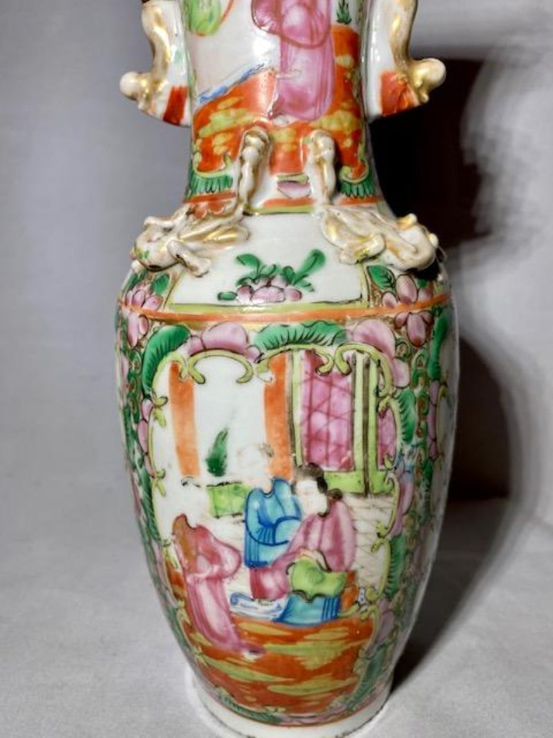 19th C Rose Medallion Chinese Porcelain Vase