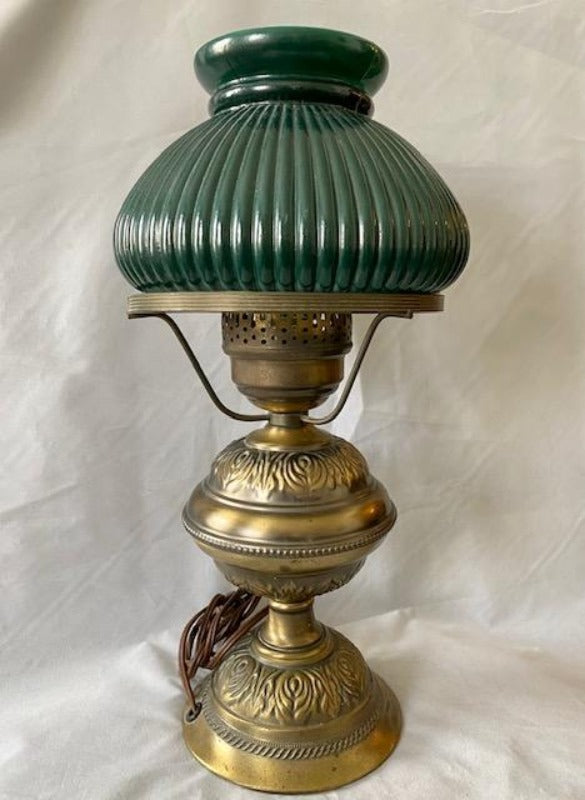 Antique Brass Student Lamp Erskine Glass Shade