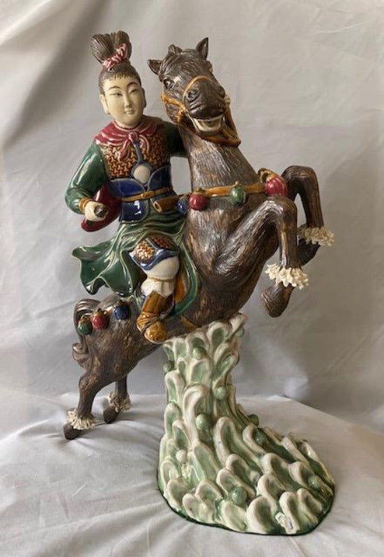 Vintage Chinese Warrior on Horse Roof Tile