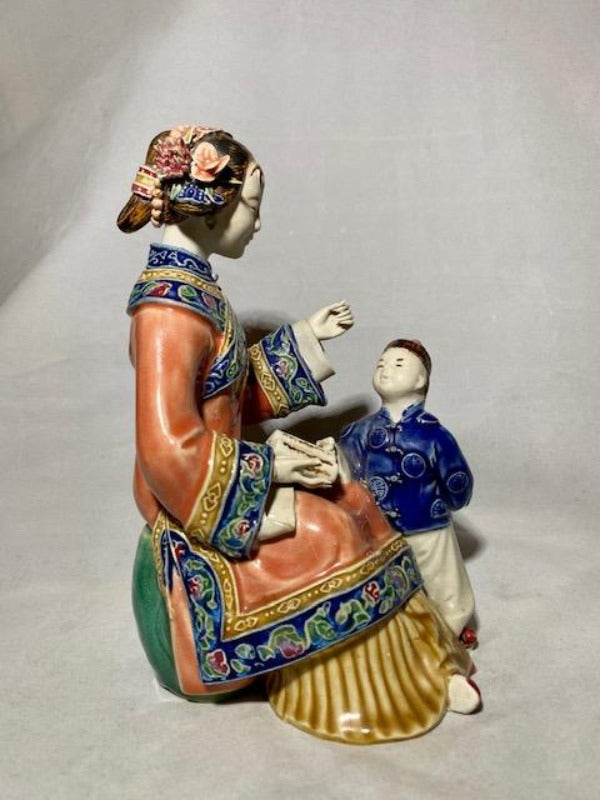 Chinese Ceramic Statue of Mother and Child