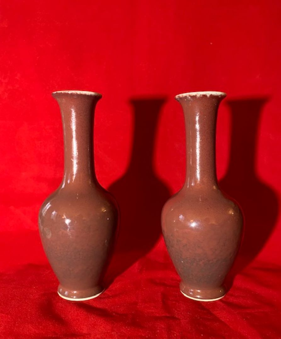 Pair of Oxblood Chinese Porcelain Vases