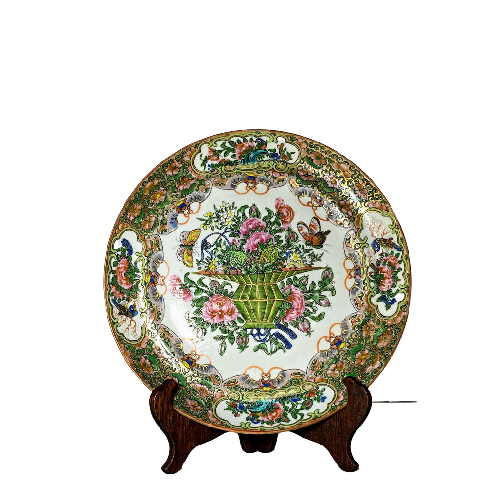 Qing Rose Medallion Porcelain Plate