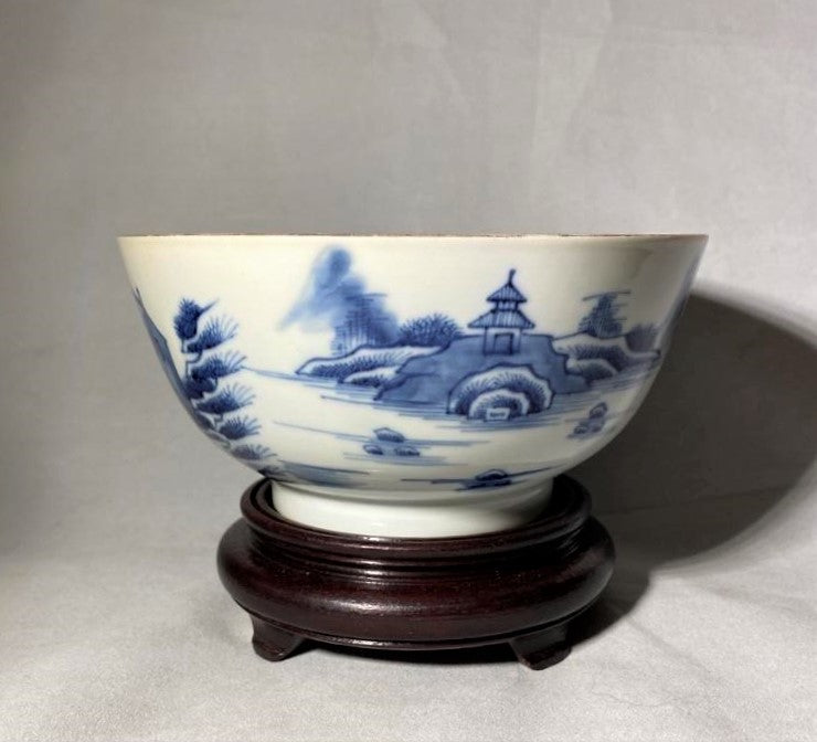 18th to 19th C Canton Blue Chinese Porcelain Bowl