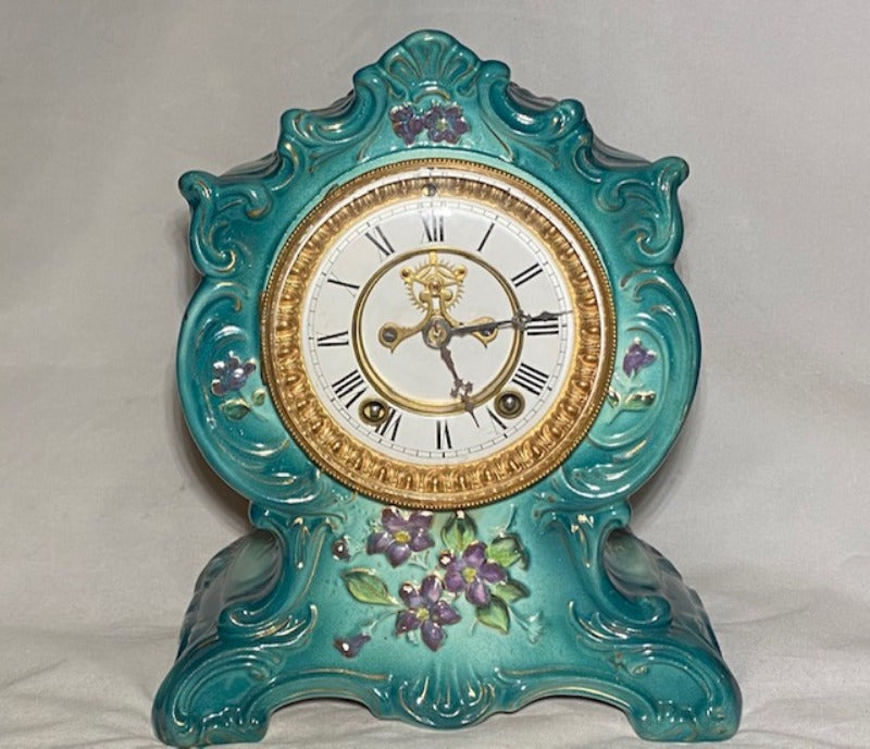 Antique Ansonia Porcelain Mantle Clock