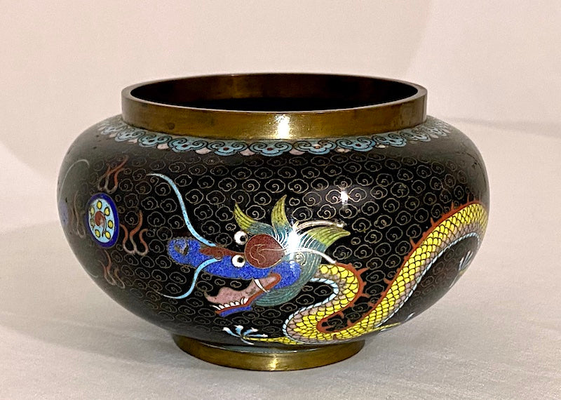 19th Century Chinese Cloisonne Dragon Pot