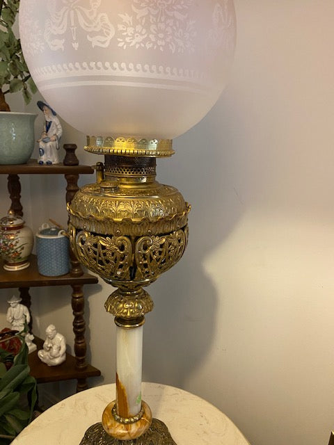 Antique Bradley and Hubbard Banquet Lamp - Converted