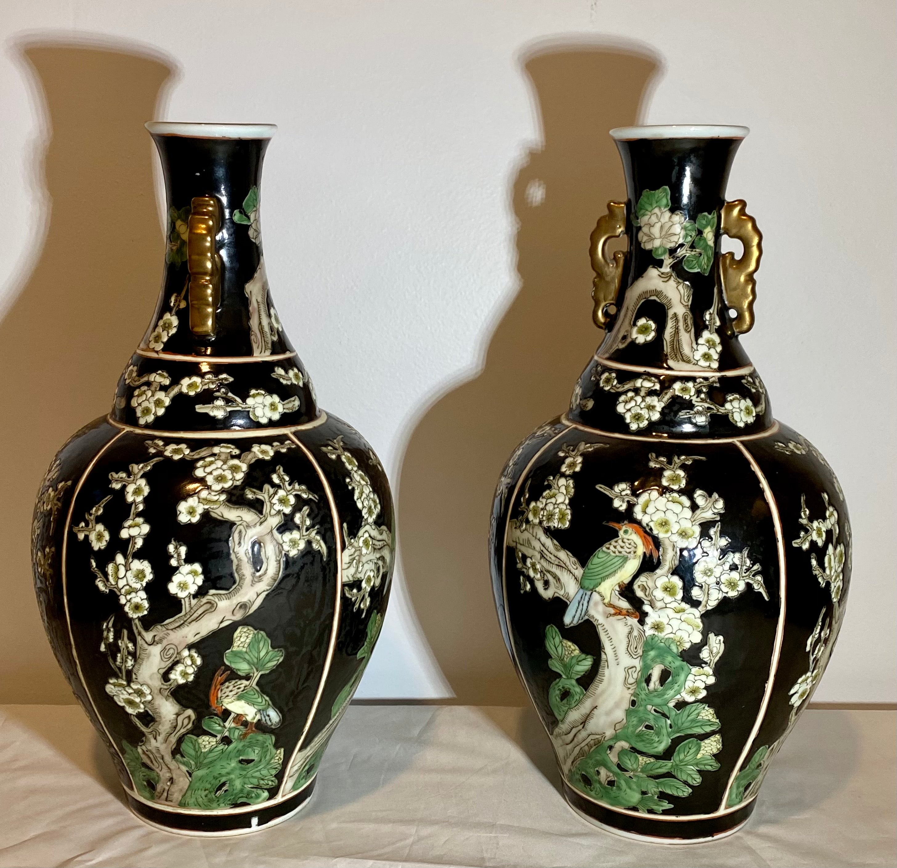 Pair of Famille Noire Vase Previously Offered by Christie's