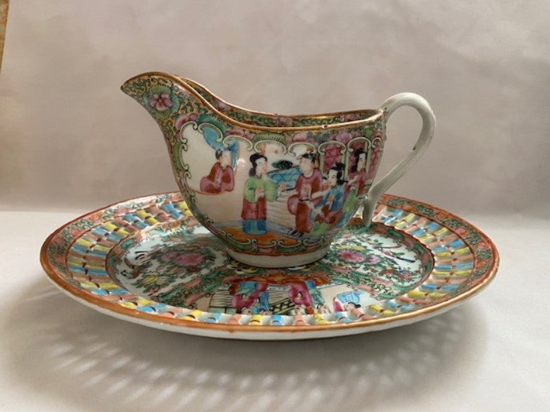 19th C Rose Medallion Porcelain Gravy Boat and Tray
