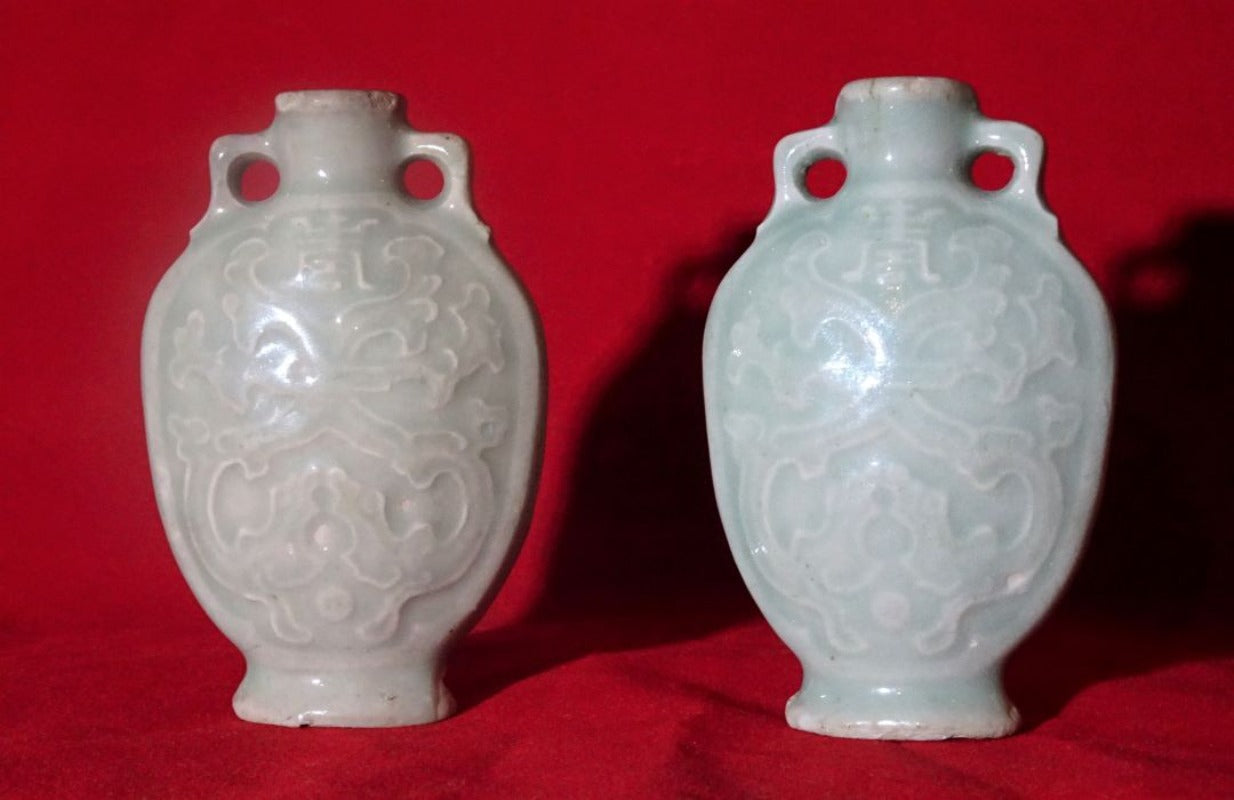 19th Century Celadon Flasks