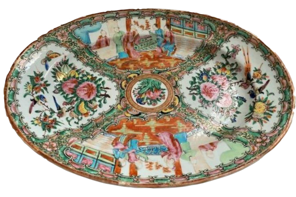 19th C Rose Medallion Porcelain Serving Tray