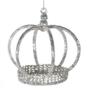 Glass Silver Glitter Hanging Crown