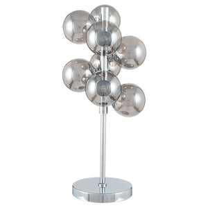 Smoke Glass Orb and Chrome Table Lamp