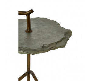 Rany Grey Stone Top Side Table