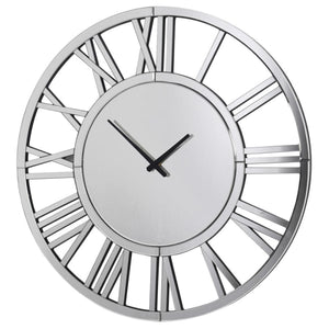 Silver Mirrored Round Wall Clock