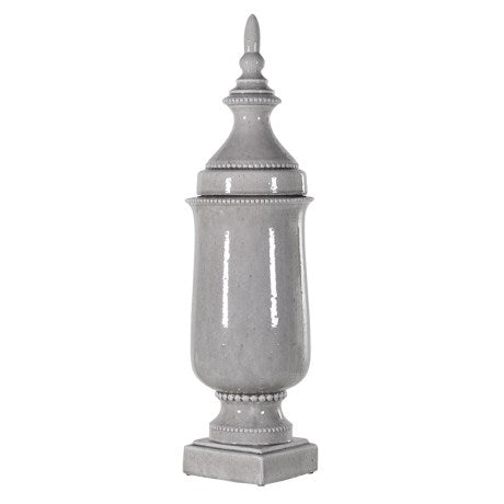 Grey Urn With Detachable Lid