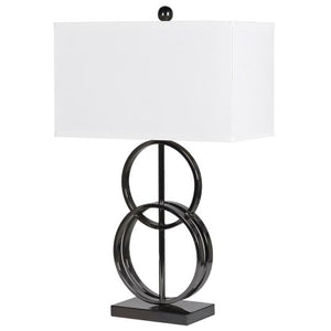 Circle Style Lamp With White Linen Shade