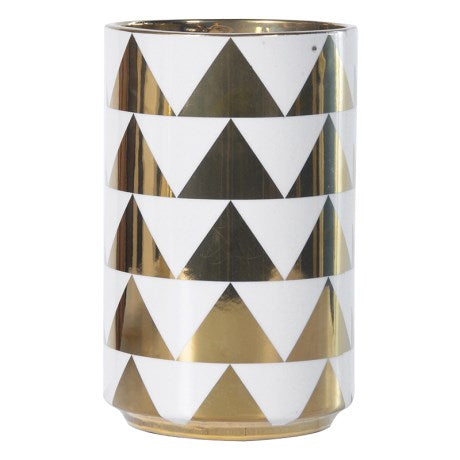 Gold & White Triangle Vase