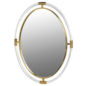 Oval Shaped Gold & Acrylic Mirror