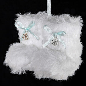 White Faux Fur Mini Boots with Blue Ribbon