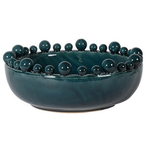 Teal Coloured Bowl with Bobbled Edge