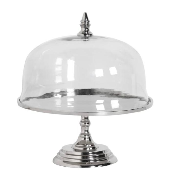 Nickel Glass Cake Stand with Dome