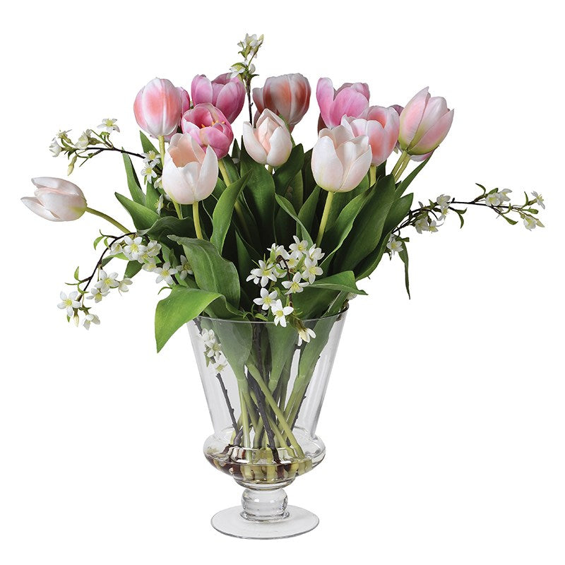 Tulip & Blossom Arrangement in Glass Urn