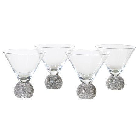 Ball Base Martini Glasses With Diamante Effect