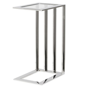 Steel Glass Top Side Table