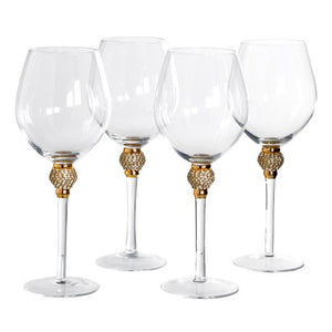 Red Wine Glasses with Diamante Effect