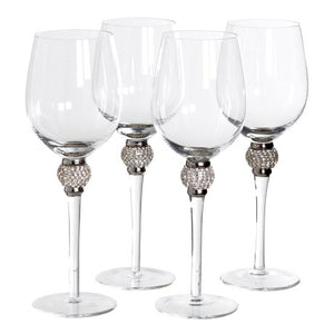 White Wine Glasses With Diamante Effect