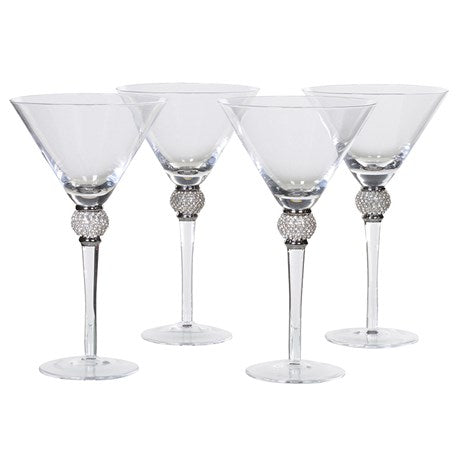 Tall Martini Glasses with Diamante Effect