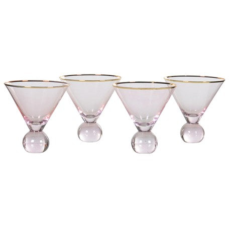 Pink & Gold Ball Base Martini Glasses
