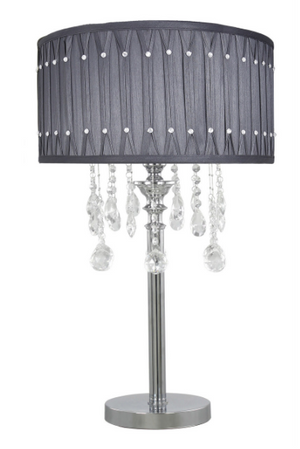 Grey Lamp with Crystal Droplets