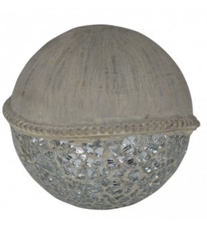 Stone Coloured Ball with Silver Mosaic