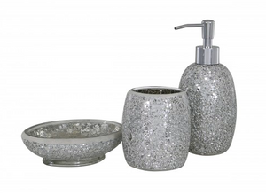 Silver Mosaic Bathroom Set