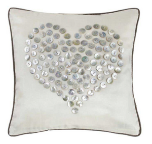 Ivory Cushion with Pearl Button Love Heart