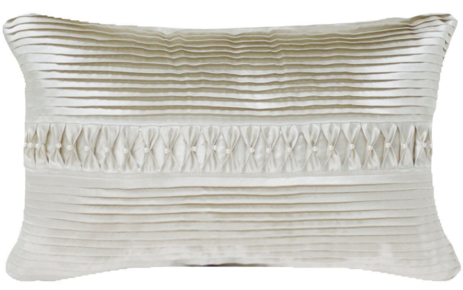 Ivory Cushions with Pleats & Pearls