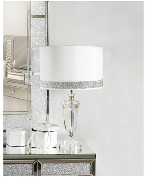 Clear Lamp with White and Silver Shade